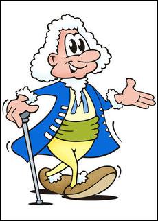 Eine Comic-Figut, die Johan Sebastian Bach darstellt, läuft mit einem Taktstock als Gehstock spazieren. Bach hat eine weiße Perücke auf und einen blauen Mantel an.