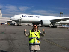 Laura at Franfurt airport with Lufthansa aircraft