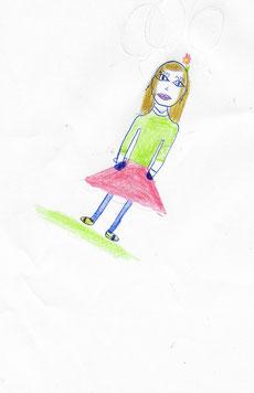 Test du bonhomme qui est une épreuve de personnalité proposée dans le cadre d'un bilan psychologique pour enfant. Dessin d'une fille âgée de 11 ans et 5 mois.