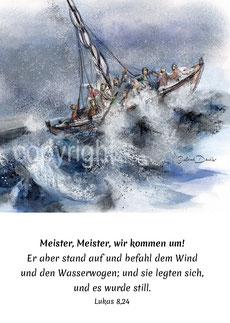 Sturm Wellen, Boot Jesus stillt den Sturm