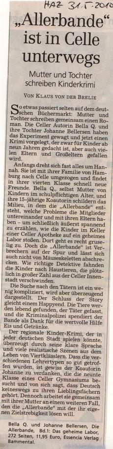 Besprechung der Allerbande in der Hannoverschen Allgemeinen Zeitung 31.05.2010