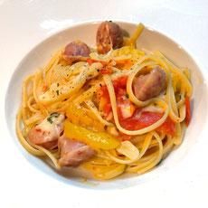 Pasta e peperoni con salsicce パスタ・エ・ペペローニ・コン・サルシッチェ