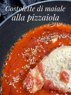 Costolette di maiale alla pizzaiola 豚肉のピッツァソース煮/Purea di patate ポテト・ピューレ