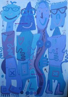 """4 Brillenfreunde in blau"",   Acryl u. Gouache auf Leinwand  70/100cm  09/00"