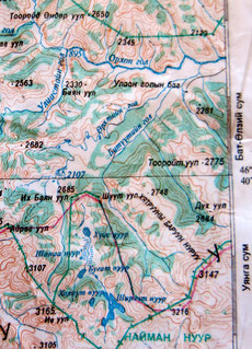 Carte 1/500 000 Naiman Nuur (8 lacs)