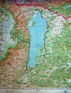 Carte 1/500 000 tour du lac Khovsgol (Khusvgul)