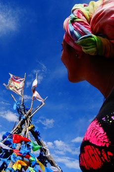 Drapeaux de prière sur un Ovo en Mongolie