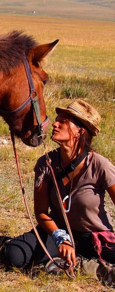 Instant bucolique Mongolie à cheval
