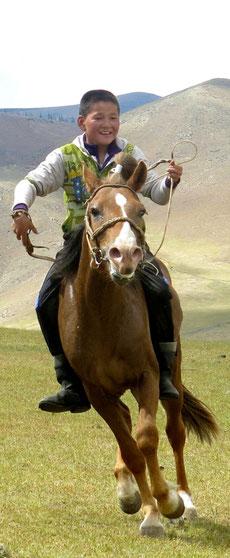 Jeune cavalier mongol au galop