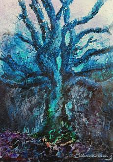 Farb_Struktur_Studie 18 x 30   Mystischer Baum