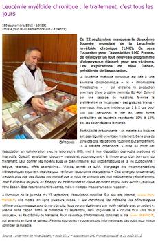 DESTINATION SANTE.COM course contre leucémie myéloïde chronique lmc france