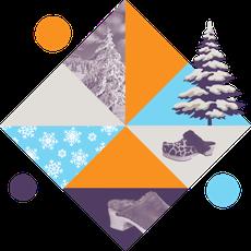 Visuel représentant les modèles de sabots d'hiver, avec des sapins, de la neige et des sabots fourrés