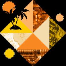 Visuel représentant des modèles de sabots d'été et une petite île avec deux palmiers