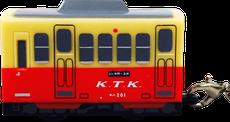 プルバックカー ストラップ/キーホルダー 電車型 側面
