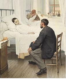 Le jour de la visite à l'hôpital. Tableau de Jean Geoffroy. 1889.