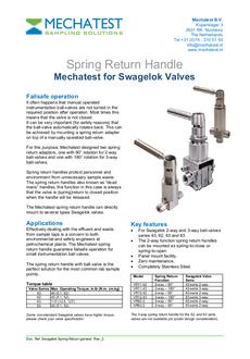 Spring return handles Swagelok Fitok and Hoke ball valves - Mechatest