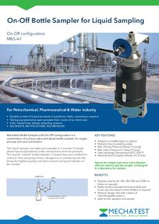 Liquid sampling on-off valve - On-off liquid sampler - Mechatest bottle sampler MBS-A1