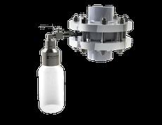 Inline liquid sampler, wafer flange sampler, waferflange, inline sampling, bottle sampler inline, pipeline liquid sampler, tussenflens