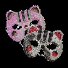 masques chats pailletés blanc ou gris - petits cadeaux invités - cat masks guests gifts
