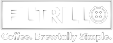 "Schwarzweißes Filtrillo Logo mit Claim ""Coffee.Brewtally Simple""."