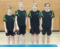 U18 II: von links: Hannes Hüttner, Nicolas Schramm, Justin Schreiner, Luka Böll. (nicht abgebildet: Julia Kümmel)