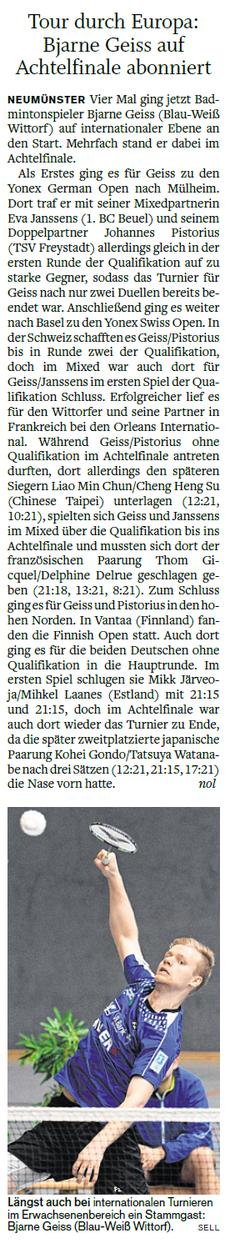 Bjarne international on tour - Bericht vom 21.04.2017