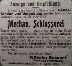 Zeitungsinserat vom 6. April 1923