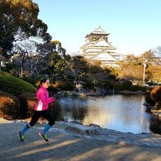 Anja beim Laufen im Osaka Castle Park