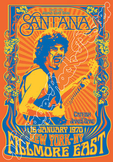 carlos santana, santana poster, santana concerto, santana live, santana memorabilia, catfish, the james gang, santana filmore east