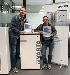 Tobias Barth und Kai Lippold von der Elektro Barth GmbH - Zertifizierter Installateur für VARTA Energiespeichersysteme