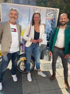 GR Karl Dreisiebner, Projektbetreiberin  Conny Desimini und LTAbg Alex Pinter bei Wahlkampfauftakt in Graz