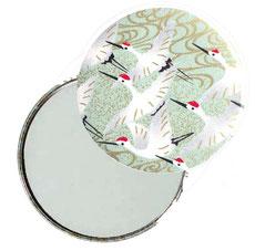 Taschenspiegel, Handspiegel, Button,59 mm,Chiyogami Yuzen Papier,Kraniche hellgrün gold