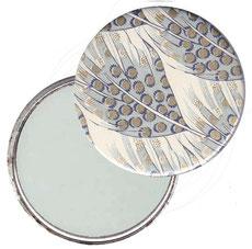 Taschenspiegel, Handspiegel, Button,59 mm,Florentiner Papier ,Federn blau grau mit Golddruck