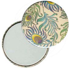 Taschenspiegel, Handspiegel, Button,59 mm,Florentiner Papier , Peacock mit Golddruck