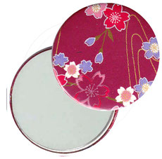Taschenspiegel, Handspiegel, Button,59 mm,Chiyogami Yuzen Papier,Blumenfeld pink rot rosa