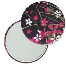 Taschenspiegel, Handspiegel, Button,59 mm,Chiyogami Yuzen Papier,Blumenfeld pink weiß