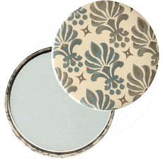 Taschenspiegel, Handspiegel, Button,59 mm,Florentiner Papier ,Ornamente grün mit Golddruck