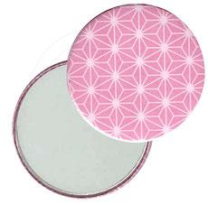 Taschenspiegel, Handspiegel, Button,59 mm,Chiyogami Yuzen Papier,Sterne rosa auf weiß