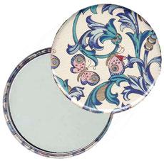 Taschenspiegel, Handspiegel, Button,59 mm,Florentiner Papier, Ornamente Schmetterlinge