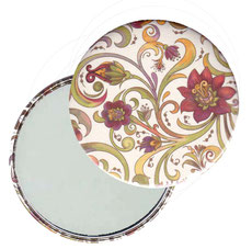 Taschenspiegel, Handspiegel, Button,59 mm,Florentiner Papier ,Blumenranken rot grün gelb