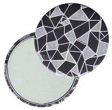 Taschenspiegel, Handspiegel, Button,59 mm,Baumwoll Papier, Geometrisches Muster weiß schwarz