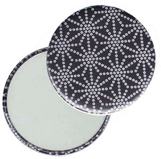 Taschenspiegel, Handspiegel, Button,59 mm,Baumwoll Papier,Sternenmuster weiß auf schwarz