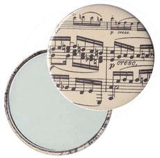 Taschenspiegel, Handspiegel, Button,59 mm,Nepal Papier, Carta Varese Papier,Noten schwarz auf beige