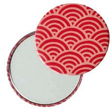 Taschenspiegel, Handspiegel, Button,59 mm,Chiyogami Yuzen Papier,Halbkreise rot