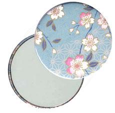 Taschenspiegel, Handspiegel, Button,59 mm,Chiyogami Yuzen Papier,Kirschblüten hellblau rosa