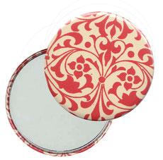 Taschenspiegel, Handspiegel, Button,59 mm,Nepal Papier, Carta Varese Papier,Ornamente rot