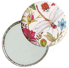 Taschenspiegel, Handspiegel, Button,59 mm,Florentiner Papier ,Libelula