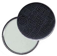 Taschenspiegel, Handspiegel, Button,59 mm,Baumwoll Papier,Azteka  schwarz grau