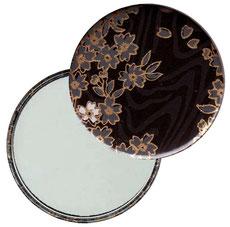 Taschenspiegel, Handspiegel, Button,59 mm,Baumwoll Papier,  Koyota schwarz gold