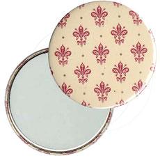 Taschenspiegel, Handspiegel, Button,59 mm,Florentiner Papier , Blumenkrönchen rot  mit Golddruck